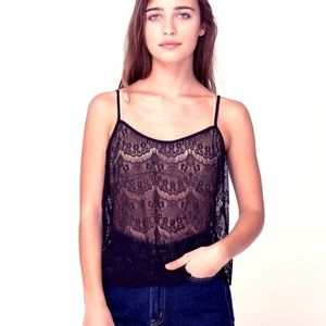 American Apparel El Salvador Black Lace Top NWT